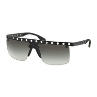 Perforated Half-Rim Sunglasses, Matte Black - Prada