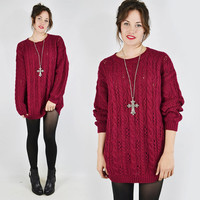 vtg 80s 90s grunge revival maroon chunky open CABLE KNIT slouchy OVERSIZED long sweater mini dress S M L