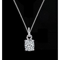 5 CT. Intensely Radiant Cushion Diamond Veneer Cubic Zirconia Fancy Bail Sterling Silver Pendant. 635P10784