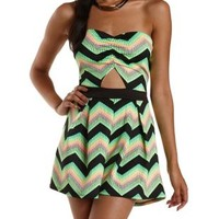 Neon Green Neon Chevron Cut-Out Strapless Romper by Charlotte Russe