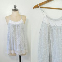 Adorable Gray Floral Lounge Cami | White Lace