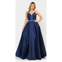 Long Satin Prom Dress with Spaghetti Straps Navy Blue