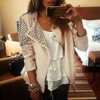 Bad Girls Club — Cream Cone Studded Leather Jacket