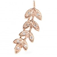 jacquie aiche - small leaf 14kt rose gold ear cuff with white diamonds
