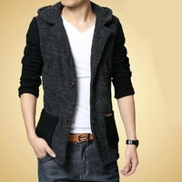 New 2013 Plus Size M-4Xl Men'S Hooded Trench Coat Suits For Men Blazer Designs Brand Hoodies Blazers Suit Free Shipping B1705
