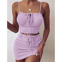 Solid color suspender Strapless Strapless open navel and buttock skirt casual suit TWO PIECES
