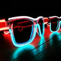 Rayban Wayfarer Inspired - Multicolored, Red White and Blue, Fourth of July, Powered, Glow in the Dark Sunglasses, Light Up, Rave, EL Wire