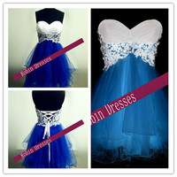 Prom Dresses 2014, Custom Strapless Sweetheart Short Lace Blue Prom Dresses Homecoming Dresses Party Dresses