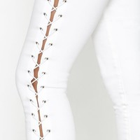 PacSun White Lace-Up Perfect Fit Jeggings at PacSun.com