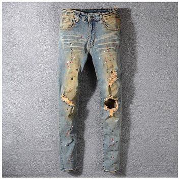 Men's Painted Ripped Jeans