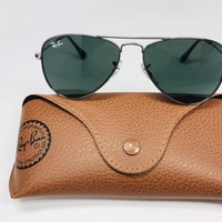 NEW Ray-Ban KIDS RJ9506S 200/71 Silver Aviator Sunglasses Green Lens 50mm w/Case