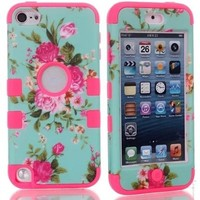 Candywe Blue Beautiful Flowers 3in1 Hybrid Hard Soft Silicone Back Case Fit For iPod Touch 5 5G 5th Rose