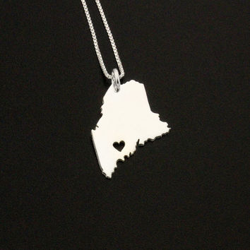 Maine necklace sterling silver Maine state necklace with heart comes with Box style chain