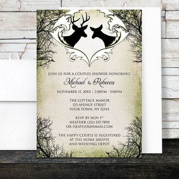 Rustic Deer Frame Couples Shower Invitations - Green Woodsy Outdoorsy Country Deer Wedding Shower - Printed Invitations