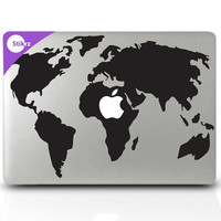 World Map decals for macbook pro home decor Macbook decals and wall decals -World Map- Decal 194