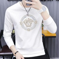 Versace New fashion diamond human head long sleeve top sweater men White