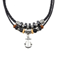 Yan & Lei Hot Sale Double Braided Rope Beads Vintage Cross Adjustable Pendant Necklace