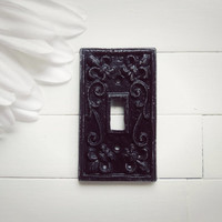 Black Light Switch Cover / Light Switch Plate / Single Light Switch Cover / Shabby Chic Decor / French Country Decor / Customize Black Decor