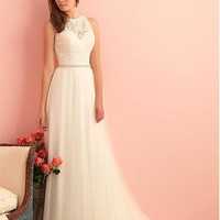 [155.24] Glamorous Tulle High Collar Neckline A-line Wedding Dress With Lace Appliques - dressilyme.com