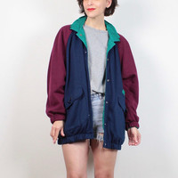 Vintage 1980s REVERSIBLE Sweatshirt and Windbreaker Jacket Teal Green Navy Blue Burgundy Red Bomber Jacket Sporty 80s Wind Breaker M L Large