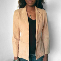 Vintage 1970s or 80s Women's Light Brown/Tan/Camel Classic Preppy Tailored Corduroy Blazer