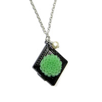 Gunmetal Silver Diamond Shaped Locket with Mint Green Flower Charm Necklace with Freshwater Pearl