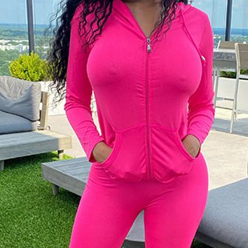 New Women's Long Sleeve Cardigan Hooded Tight Pants Casual Suit