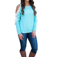Women Tops Long Sleeve T Shirt Round Neck Crochet Lace Casual Loose Tops Plus Size T-shirt Femme