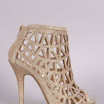 Glitter Caged Cutout Peep Toe Stiletto Heel
