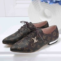 LV Louis Vuitton Women Fashion Casual Pointed Toe Low Heeled Shoes