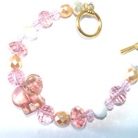 Pink Elephant Beaded Bracelet  Pink Czech Crystal And Gold Beads Fun Sparkle