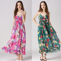 Fashionable Summer Women Floral Floral Strap One Piece Dress b9
