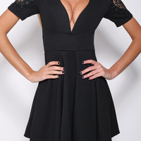 Black V-Neckline Skater Dress with Lace Cut-Out Sleeve