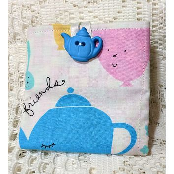 Friendly Teacups Tea Wallet Fabric Tea Bag and Sweetener Envelope for the Purse - One of a Kind!