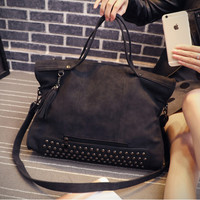 Large Leather Vintage Studded Crossbody Shoulder fashion bag Handfashion bag Messenger Motorcycle