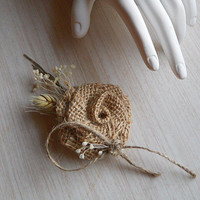 Country Burlap & Wheat Boutonniere, Groom and Groomsmen Boutonniere, for Rustic, Country, Bohemian, Woodland, Style Weddings. Made to Order.