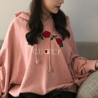 """CUCCI""Fashion loose embroidery flower hooded Sweater"