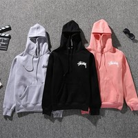 Stussy Long Sleeve Letters Hooded Male And Female Couple Sweater Coat