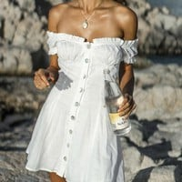 New Casual Summer Cotton Off The Shoulder Button Dresses Puff Sleeve A-line Mini Beach Vacation Backless Dress Womans DJ6591