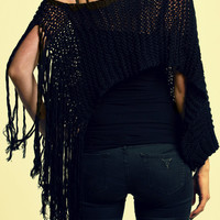 50% off / Black Knit Women Shawl - Poncho  / OOAK Clothing / Women Clothing / Fits to all / Free shipping