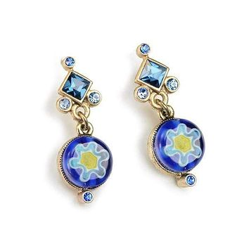 Italian Millefiori Glass Flower Earrings