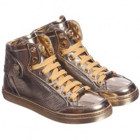 Girls Gold Leather High-Top Trainers