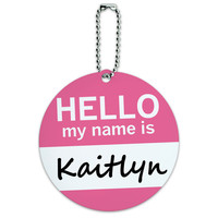 Kaitlyn Hello My Name Is Round ID Card Luggage Tag