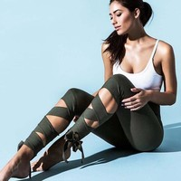 Yoga pants workout pants dance ballet leggings bandage Sweatpants Army Green