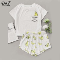 Dotfashion Banana Print Pocket Front Top With Shorts Pajama Set Ladies Short Sleeve Cute Pajama Set 2017 Stretchy Pajama Set
