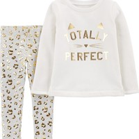 2-Piece Cat Fleece Top & Cheetah Legging Set