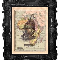Upcycled Dictionary Page Upcycled Book Art Upcycled Art Print Upcycled Book Print Vintage Art Print Ship Map 2