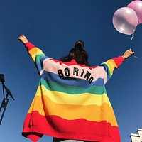 Christmas lazy oaf kawaii sweet heart embroidery BORING letter rainbow striped cardigan oversize loose knit sweater UNIF women