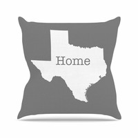 """Bruce Stanfield """"Texas Is Home"""" White Gray Outdoor Throw Pillow"""