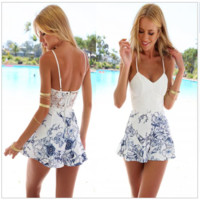 V-neck Backless Spaghetti Strap Lace A-line Flower Print Short Jumpsuit